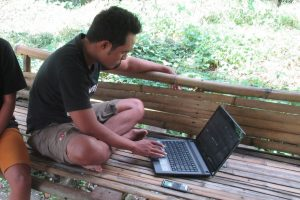 Laptop in village Sumba